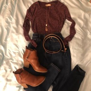 Red Heathered Long Sleeve Top